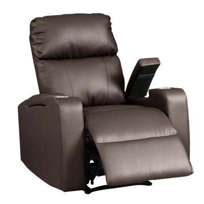 Terry Collection Modern Espresso Upholstered Faux Leather with Electric Power Recliner Chair