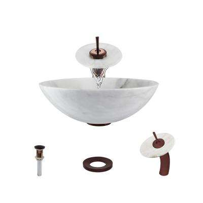 Stone Vessel Sink in Honed Basalt White Granite with Waterfall Faucet and Pop-Up Drain in Oil Rubbed Bronze
