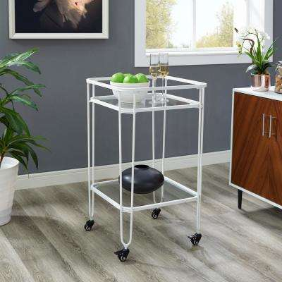 35 in. Metal and Glass Serving Cart in White