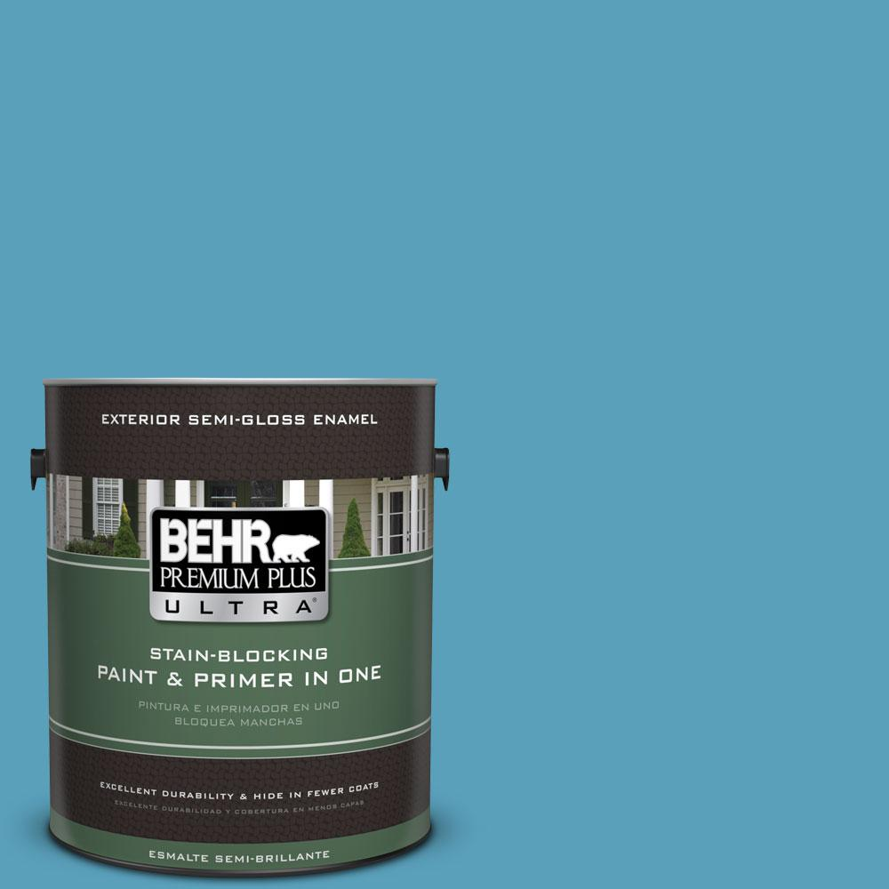 BEHR Premium Plus Ultra 1-gal. #540D-5 Tropical Splash Semi-Gloss Enamel Exterior Paint