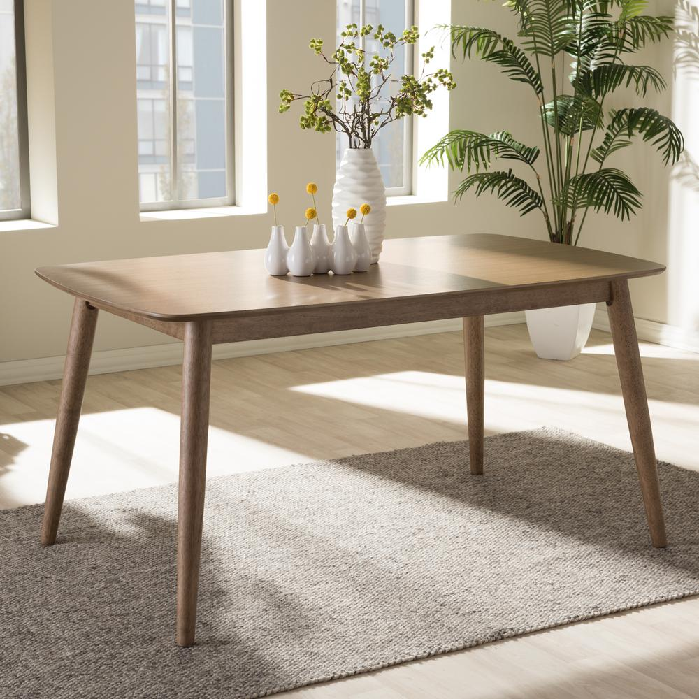 Beau Baxton Studio Edna Light Brown Finished Wood Dining Table
