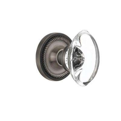 Rope Rosette 2-3/8 in. Backset Antique Pewter Privacy Oval Clear Crystal Glass Door Knob