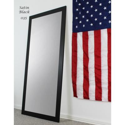 Large Flat Black Composite Modern Mirror (60 in. H X 21 in. W)
