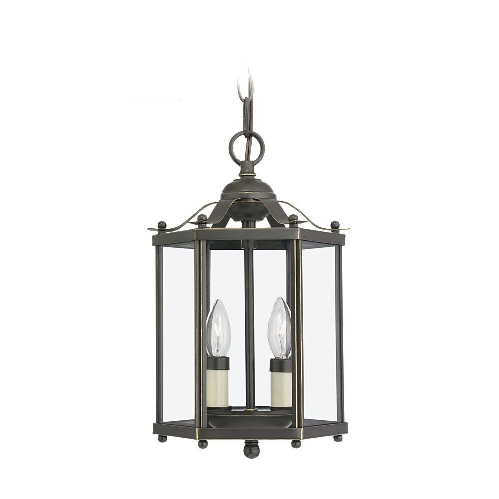 Sea Gull Lighting Bretton 7 5 In W 2 Light Brushed Nickel Semi Flush Mount Convertible Pendant 5232 962 The Home Depot