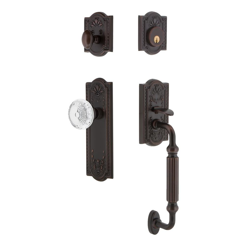 Meadows Plate 2-3/4 in. Backset Timeless Bronze F Grip Handleset Crystal