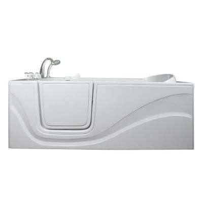 Lay Down 5 ft. x 30 in. Walk-In Air Massage Bathtub in White with Left Drain/Door