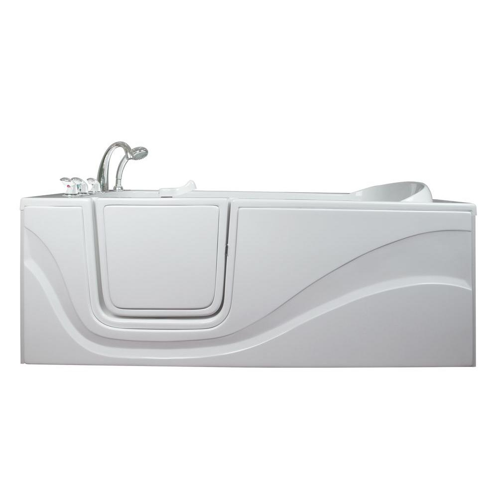 Ella Lay Down 5 ft. x 30 in. Walk-In Bathtub in White with Left ...
