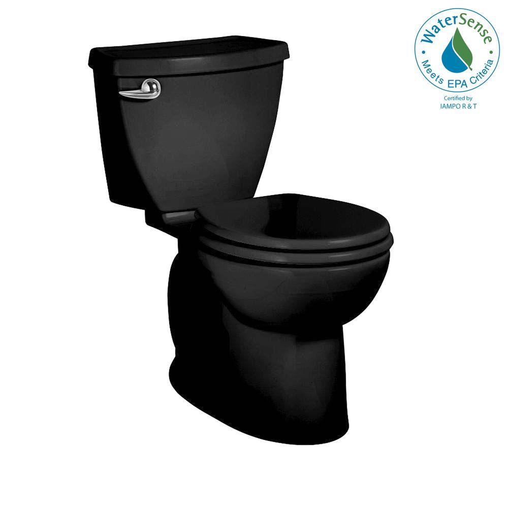 American Standard Cadet 3 FloWise 2-Piece 1.28 GPF High Efficiency Round Front Toilet in Black-DISCONTINUED