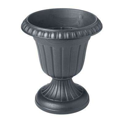 Traditional 16 in. x 18 in. Gray Plastic Urn