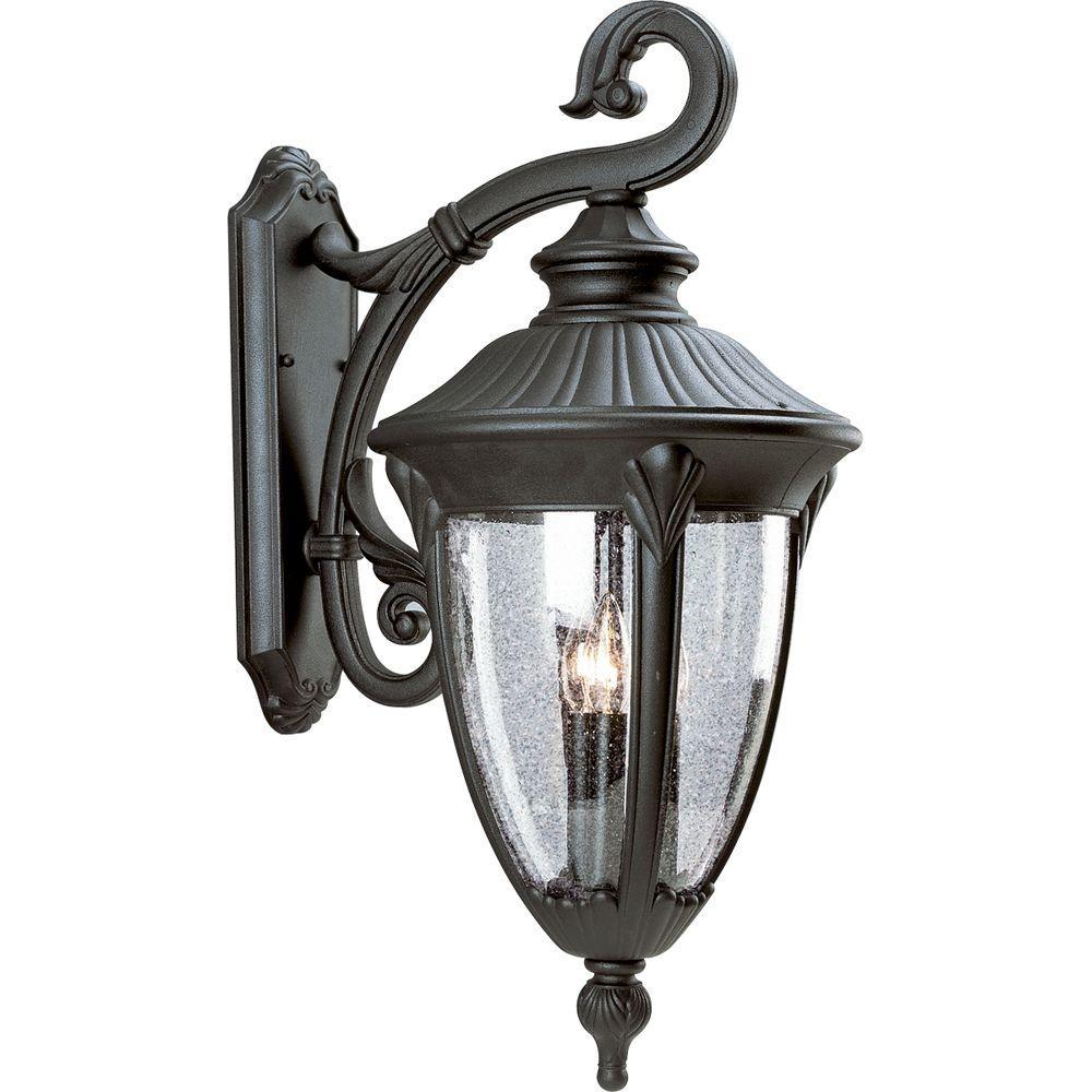 Progress Lighting Meridian Collection 3-Light Outdoor Textured Black Wall Lantern