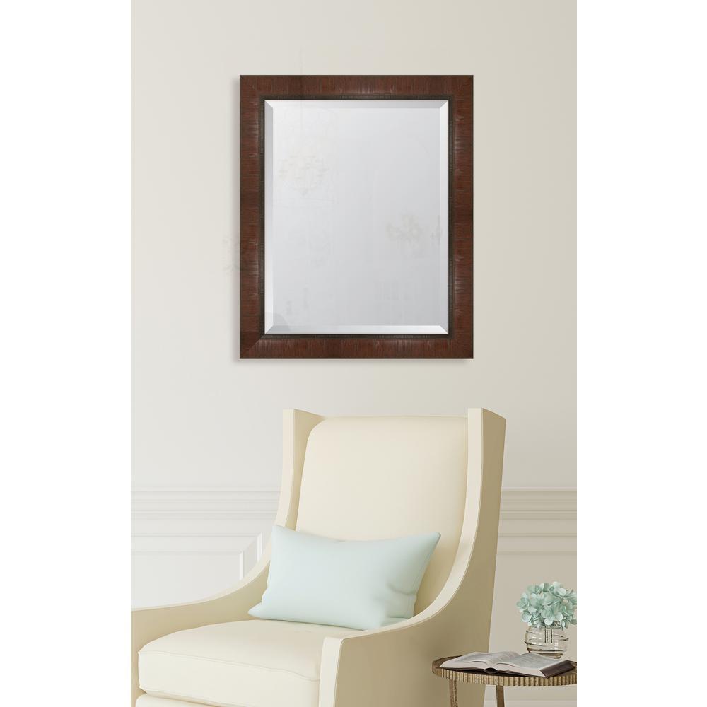 28 in. x 34 in. Framed 3 in. Mahogany Scoop Montalcino Resin Frame Mirror