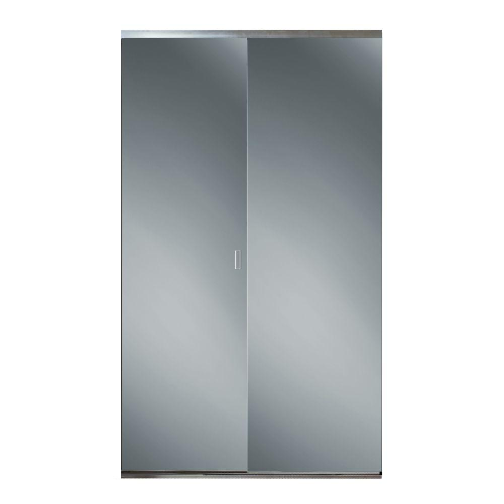 30 in. x 80-3/4 in. Trim Line Bright Clear Aluminum Frame Mirrored ...