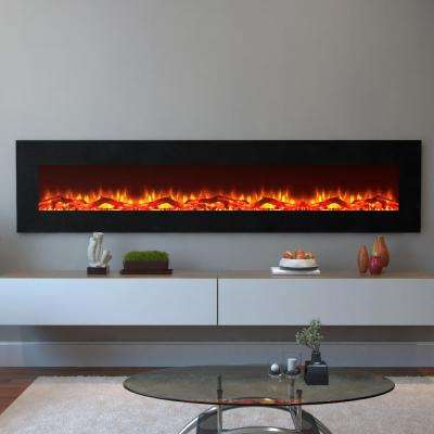 Grand 95 in. Log Electric Wall Mounted Fireplace in Black
