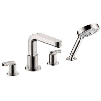 Metris S Lever 2-Handle Deck-Mount Roman Tub Faucet with Hand Shower in Chrome