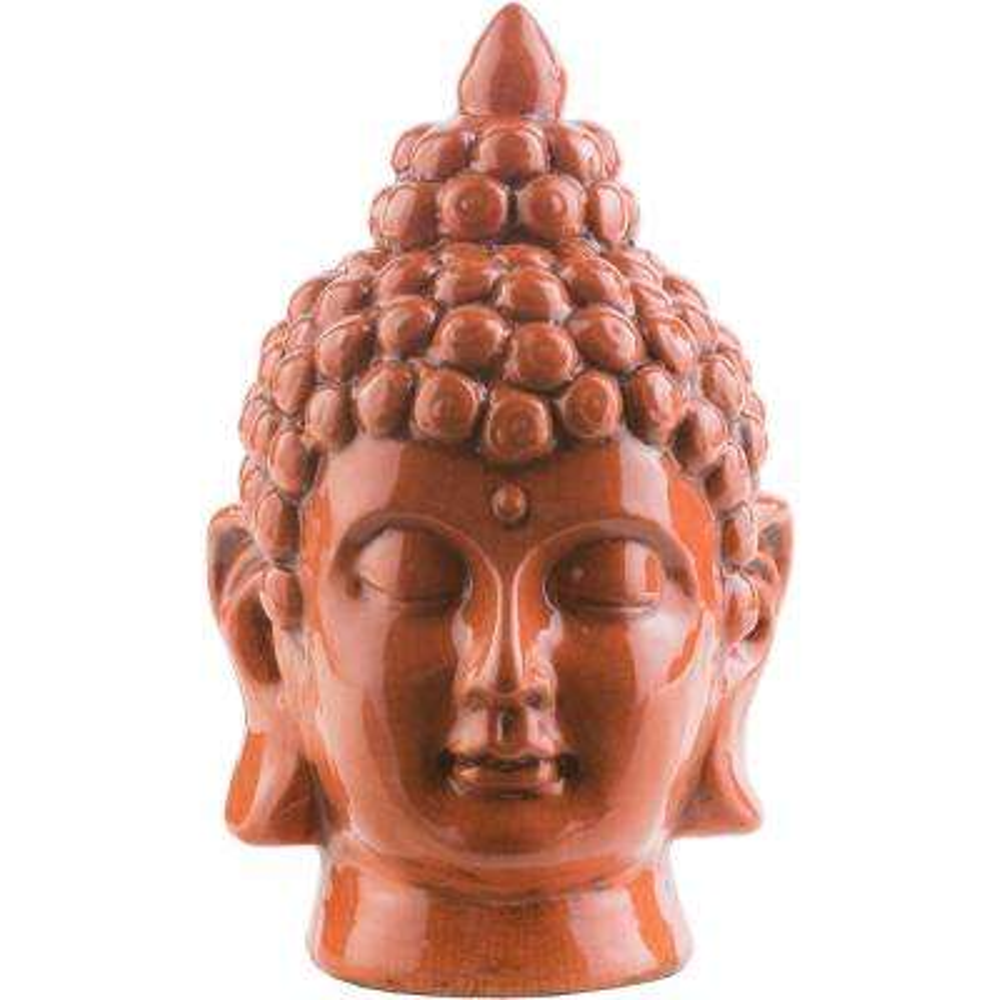 Hansh 7.9 in. x 12.6 in. Decorative Buddha Bust in Burnt Orange