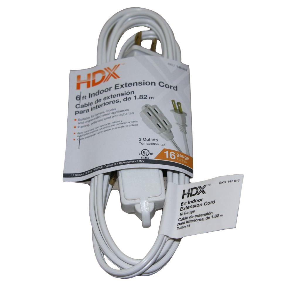 HDX 6 ft. 16/2 Cube Tap Extension Cord