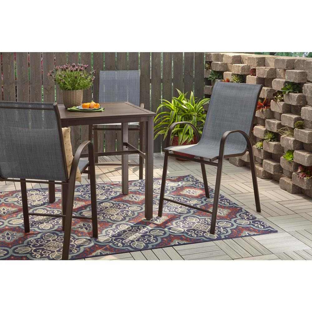 Hampton Bay Mix and Match Stackable Sling Balcony High Outdoor Dining Chair in Denim