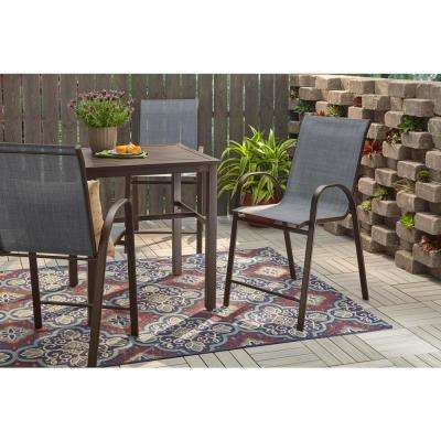 Mix and Match Stackable Sling Balcony High Outdoor Dining Chair in Denim