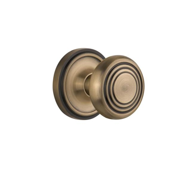 Nostalgic Warehouse Classic Rosette 2 3 4 In Backset Antique Brass Passage Hall Closet Deco Door Knob 708395 The Home Depot