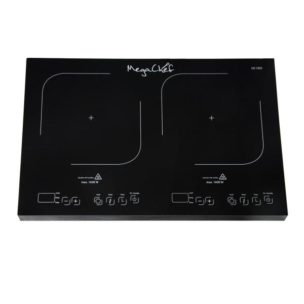 MegaChef 2-Burner 12 in. Black Induction Hot Plate with Temperature Control