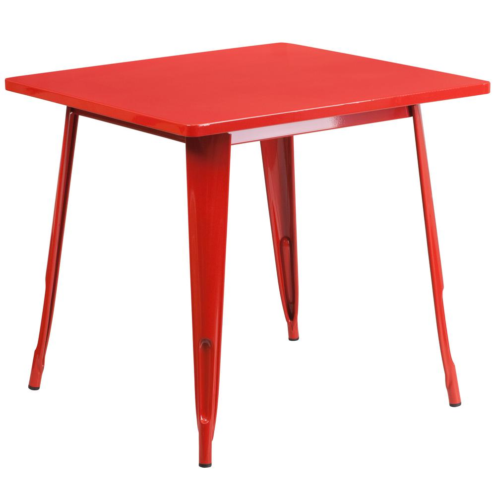 Red Square Metal Outdoor Bistro Table