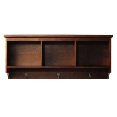 Wellman 8.5 in. W x 38 in. L Wall Shelf with 3-Hooks in Dark Cherry