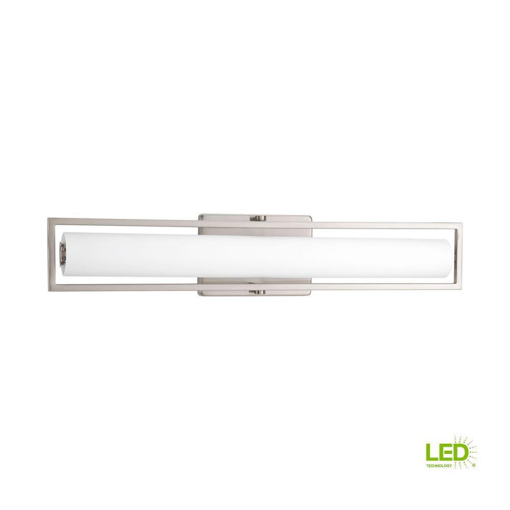Frame Collection 35-Watt Brushed Nickel Integrated LED Linear Vanity Light with