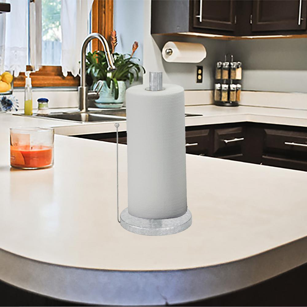 Mind Reader Counter Top Silver Free Standing Galvanized Paper Towel