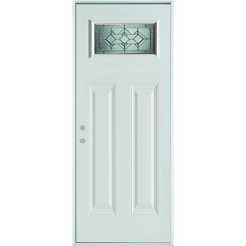 32 in. x 80 in. Neo-Deco Zinc Rectangular 1 Lite 2-Panel Painted White Right-Hand Inswing Steel Prehung Front Door