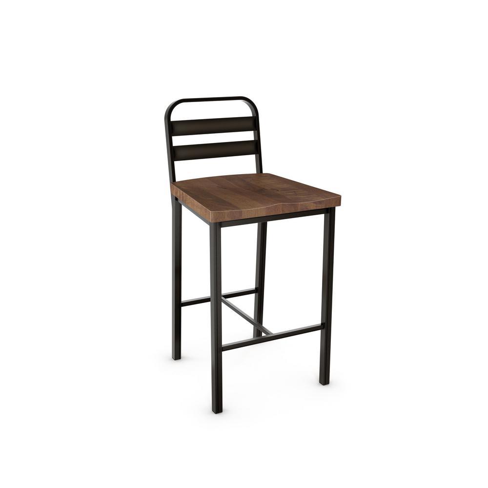 Accord 26 in. Semi-Transparent Metal Brown Wood Counter Stool