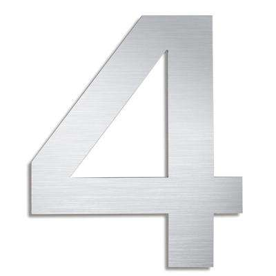 5.9 in. Brushed Stainless Steel Mounted House Number 4