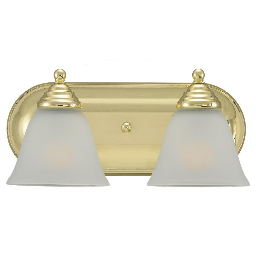 Sea Gull Lighting Albany 2 Light Polished Brass Vanity Fixture-DISCONTINUED