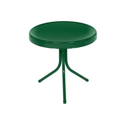 Forest Green Metal 21.75 in. Retro Tulip Outdoor Side Table