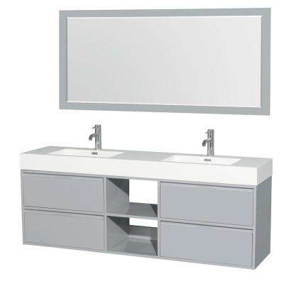 Daniella 72 in. W x 18 in. D Vanity in Dove Gray with Acrylic Vanity Top in White with White Basins and 70 in. Mirror