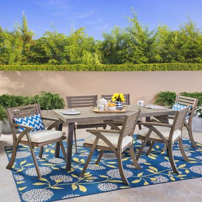 Della Gray 7-Piece Wood Outdoor Dining Set with Cream Cushions