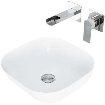 Camellia Matte Stone Vessel Bathroom Sink Set with Atticus Wall Mount Faucet in Chrome