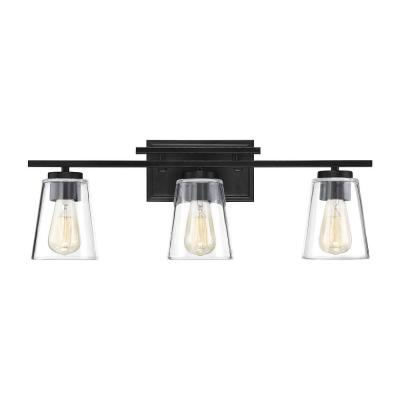24 in. 3-Light Black Vanity Light
