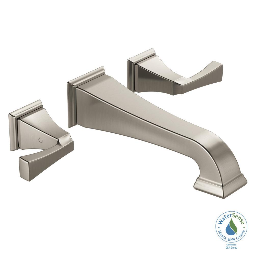 Delta Dryden 2 Handle Wall Mount Bathroom Faucet In Spotshield Stainless Valve Not Included