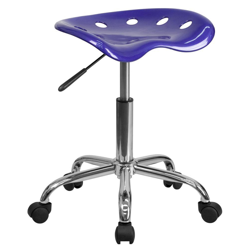 Flash Furniture Vibrant Deep Blue Tractor Seat and Chrome Stool LF214ADEEPBLUE