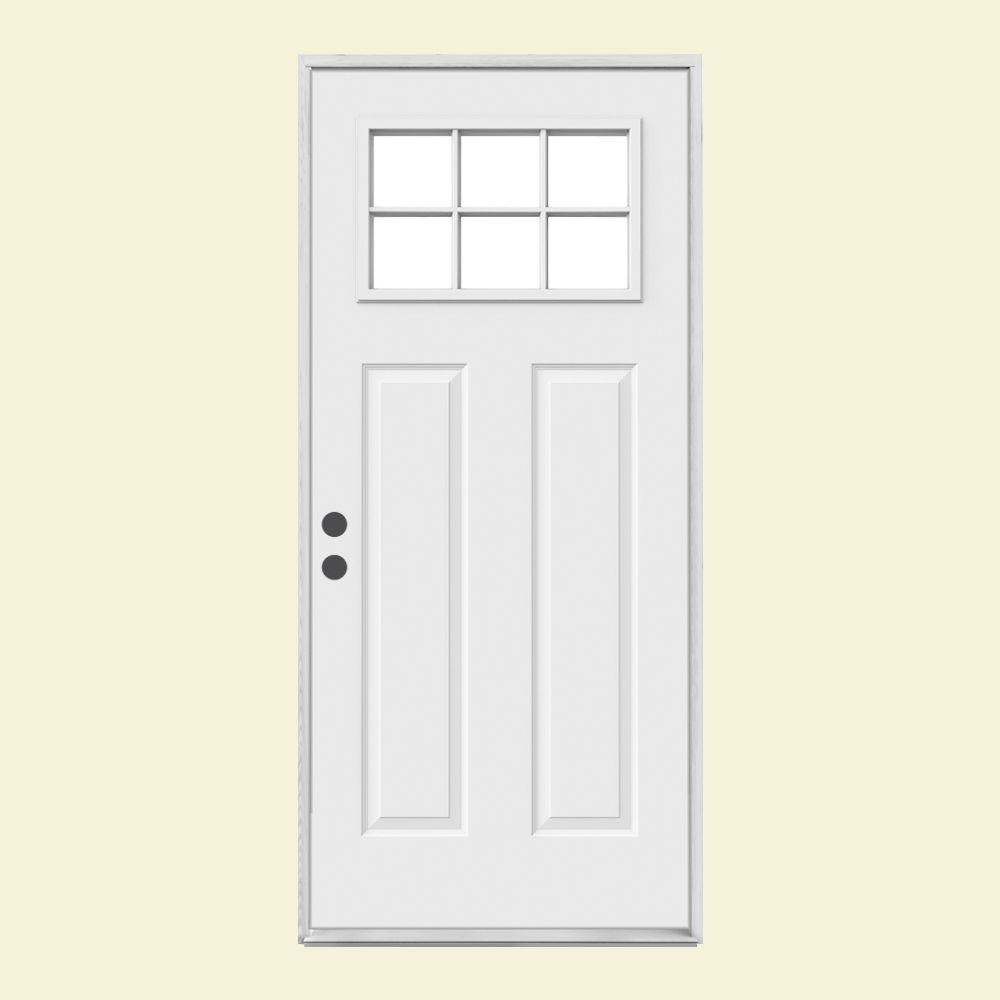 JELD-WEN 32 in. x 80 in. 6 Lite Craftsman Primed Steel Prehung Right-Hand Inswing Front Door