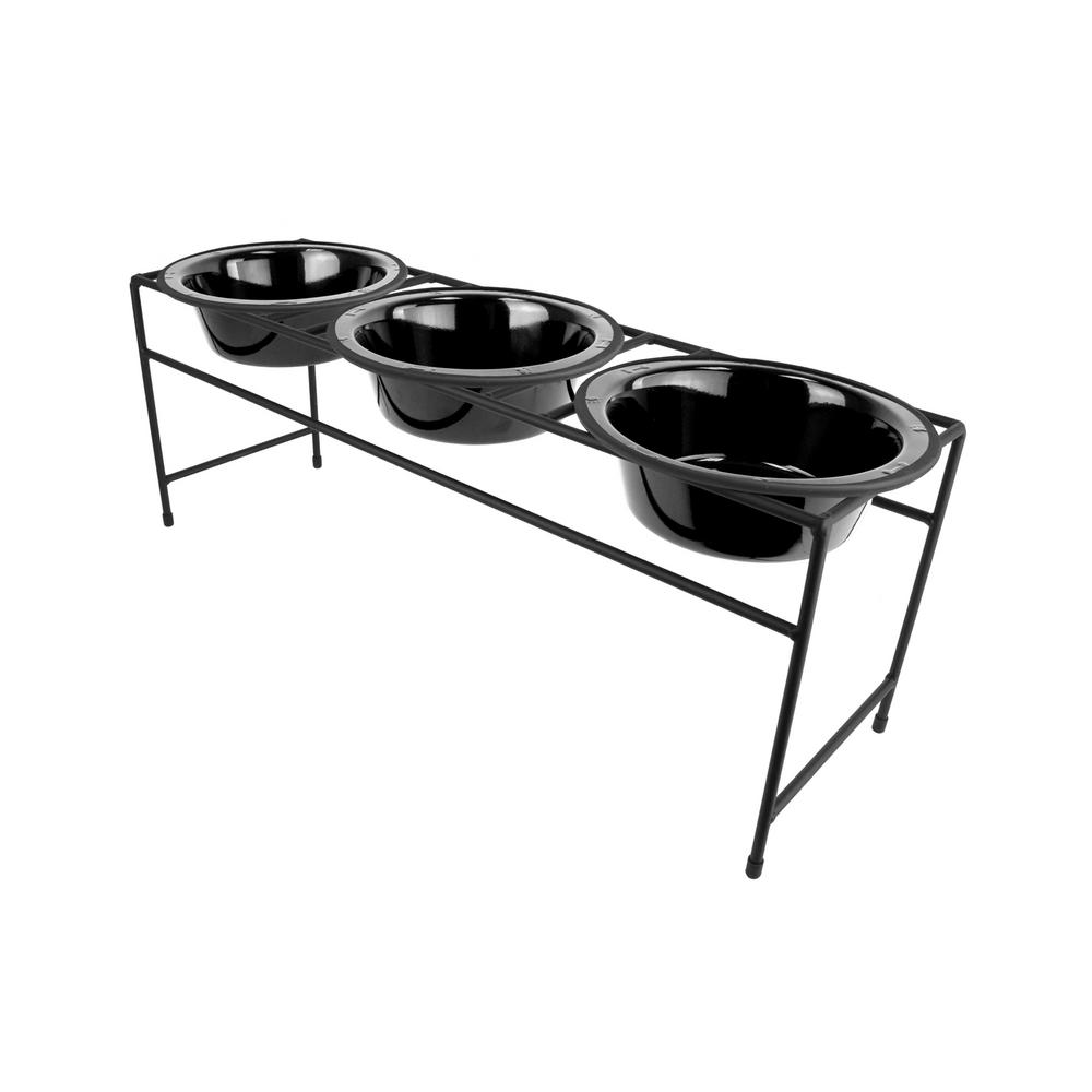 3.5 Cup Triple Modern Diner Feeder with Dog Bowls, Midnight Black