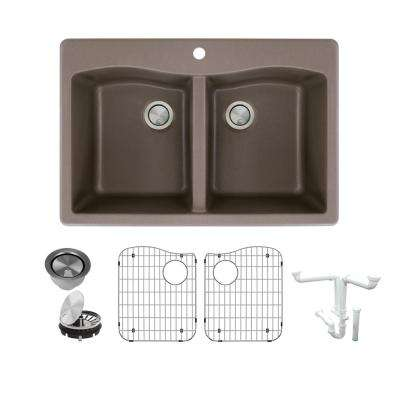 Aversa All-in-One Drop-in Granite 33 in. 1-Hole Equal Double Bowl Kitchen Sink in Espresso