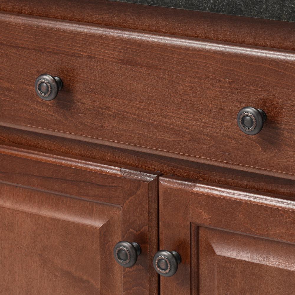 Dynasty Hardware K-80117-10B-25PK Rope Cabinet Hardware Knob 25-Pack Oil Rubbed Bronze