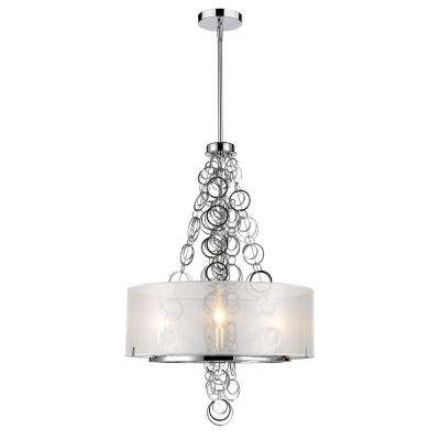 Danica 3-Light Chrome Chandelier with Sheer Opal Shade