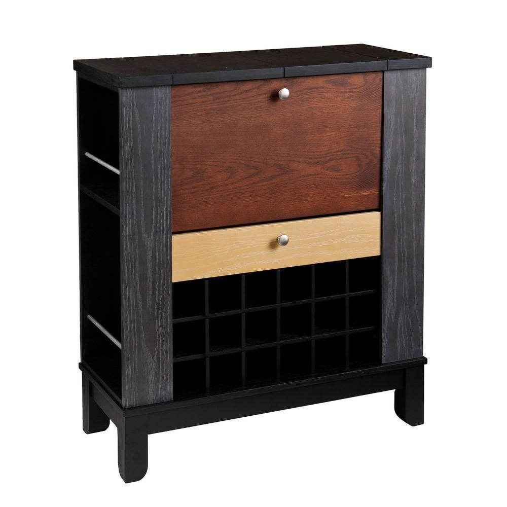 Southern enterprises chloe black and multi tonal wood bar with expandable storage