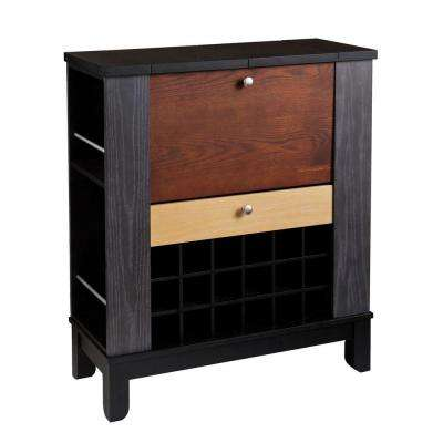Chloe Black and Multi-Tonal Wood Bar with Expandable Storage