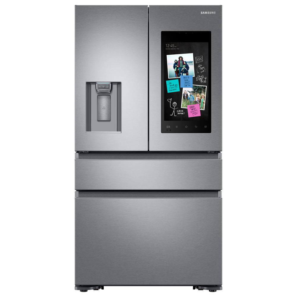 Samsung 22.2 cu. Ft. Family Hub 4-Door French Door Recessed Handle Smart Refrigerator in Stainless Steel, Counter Depth