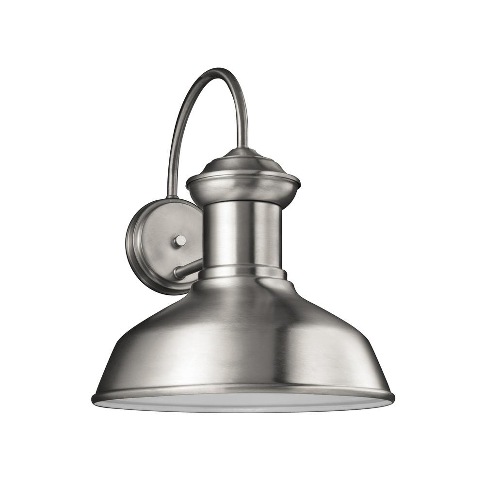 Sea Gull Lighting Fredricksburg 1-Light Satin Aluminum Outdoor 15.875 in. Wall Lantern Sconce with LED Bulb