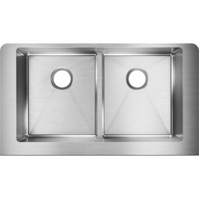 Crosstown Farmhouse/Apron-Front Stainless Steel 32 in. Double Bowl Kitchen Sink with Aqua Divide