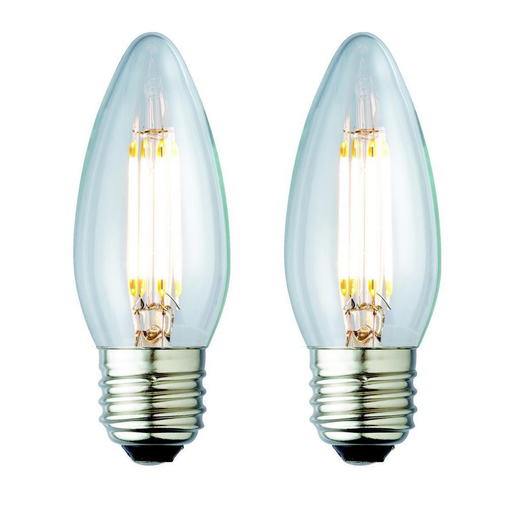 40W Equivalent Soft White B10 Clear Lens Nostalgic Candelabra Blunt Tip Dimmable LED Light Bulb (2-Pack)
